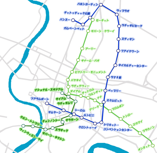 バンコクのBTSと地下鉄の路線図